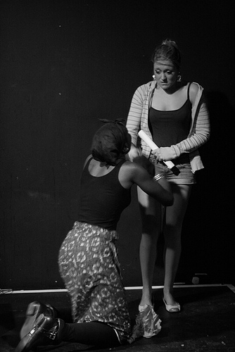 From left to right) Anniwaa Buachie, Jennifer Aries Anniwaa played the role of Aziza (Medea), in the compelling play Medea of Darfur by Zoe Simon