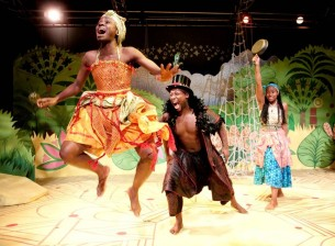 (from left to right) Anniwaa Buachie as Anansi, Touissant Meghie and Vanessa Sampson in Anansi - Southwark Playhouse 2010