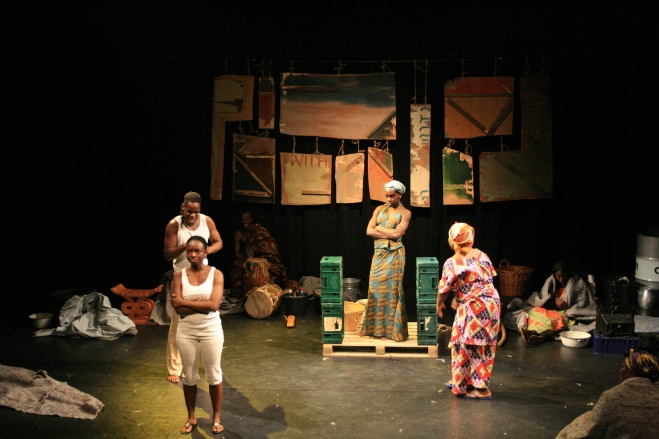 ( from left to right) Shonel Jackson, Seun Shote and Anniwaa Buachie (centre) as Monka in n 2007, critically acclaimed British theatre company Border Crossings collaborated with the vibrant prestigious National Theatre of Ghana to produce Amma Ata Aidoo's play Dilemma of Ghost.