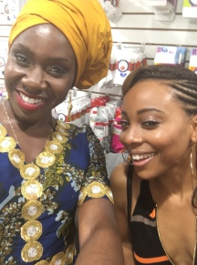 Anniwaa Buachie with Erica Ash on the set of Survivor's Remorse