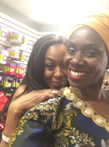 Anniwaa Buachie with Tichina Arnold on the set of Survivor's Remorse